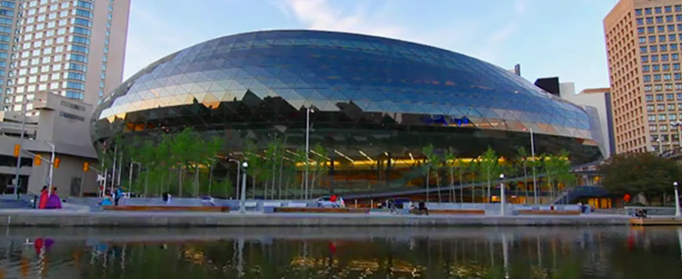 exterior shot of the shaw centre across the rideau canal